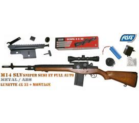 Pack M14 SLV sniper full metal ABS 1 joule ASG