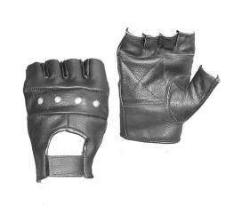 Gants mitaine 1/2 cuir noir taille L