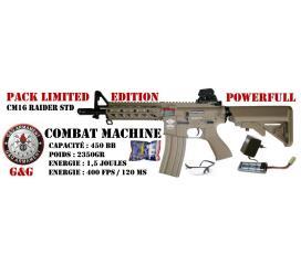 Pack CM16 Raider carbine combat machine by G&G desert