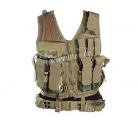 Veste tactique Arid Woodland 8 poches Holster + Ceinturon