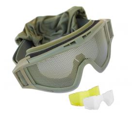 Masque de protection tactical grillagé Elite Force OD avec 2 ecrans