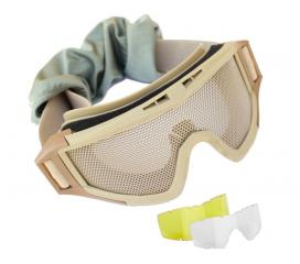 Masque de protection tactical grillagé Elite Force Tan avec 2 ecrans