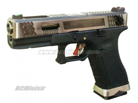 G18 G-Force T4 Metal Slide Silver Silver Black GBB WE