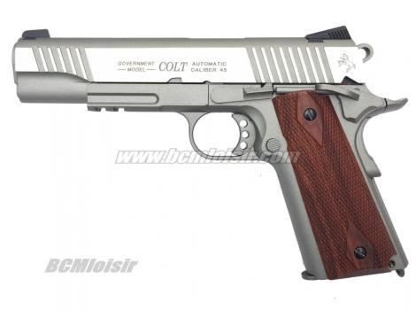 Colt 1911 Rail Gun Stainless Full Metal Blowback CO2