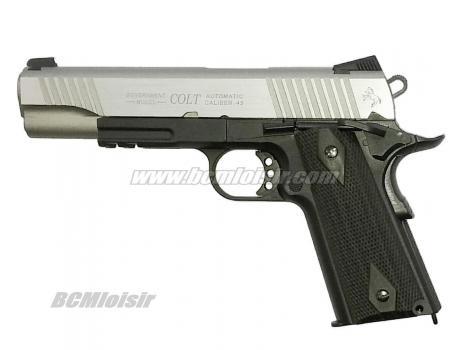Colt 1911 Rail Gun Stainless Dual Tone Full Metal Blowback CO2