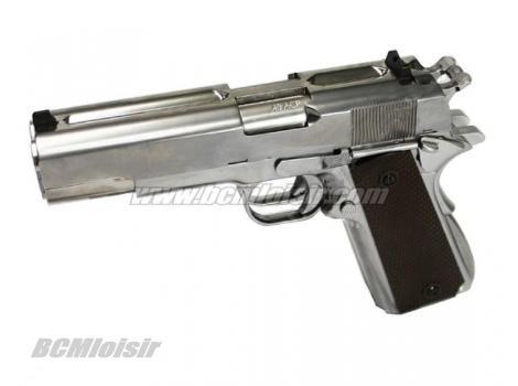 WE 1911 Dueller Double Canon Full Metal Silver Gaz Blowback