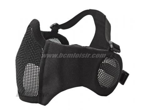 Masque Bas de Visage Grillagé Noir avec Protection Oreilles Stalker
